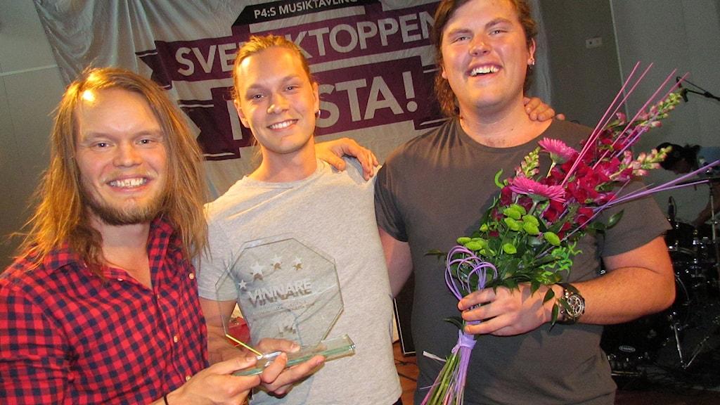 Kim Hemström, Kristoffer Andersson och Victor Olofsson. Foto: Mika Koskelainen/Sveriges Radio