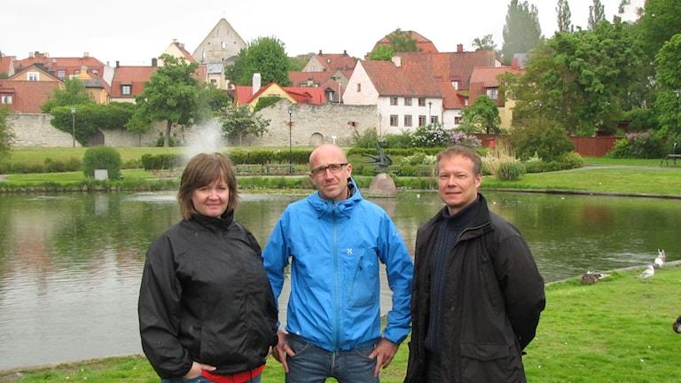 Eva Bofride, Thomas Zielinski och Mattias Wahlgren planerar mångfaldsmanifestation. Foto: Anna Jutehammar/SR Gotland