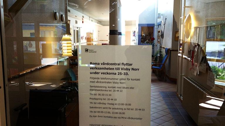 Roma vårdcentral har stängt. Foto: Mika Koskelainen/SR Gotland