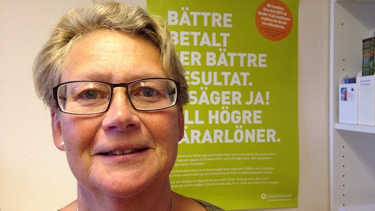 Gunnel Ahlgren, ordförande Lärarförbundet Gotland. Foto:Katarina Hedström SR/Gotland.