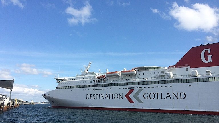 Gotlandsfärjan lägger till i Nynäshamn. Foto: Henrik Wallenius/P4 Gotland Sveriges Radio