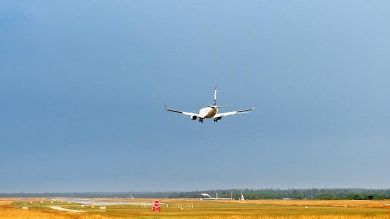 Flygplan går in för landning. Foto: Jonas Neuman/Sveriges Radio