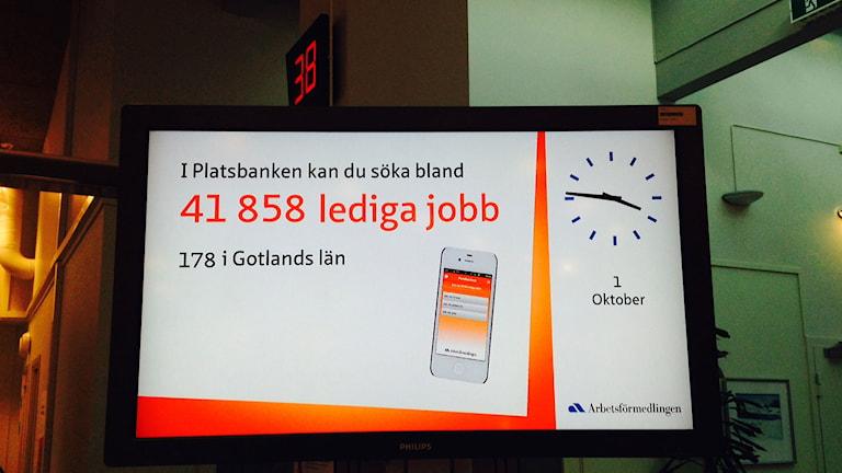 Antalet lediga jobb hos Arbetsförmedlingen. Foto: Anna Jutehammar P4 Gotland