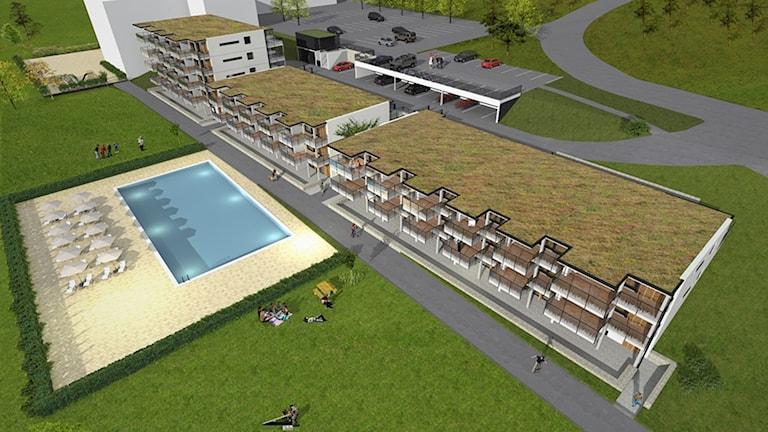 Skiss på nya hus vid Snäck. Bild: Hökerums bygg