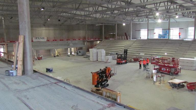 Det blir ett mobilt parkettgolv i  nya sporthallen i Visby. Foto: Hanna Sihlman/Sveriges Radio