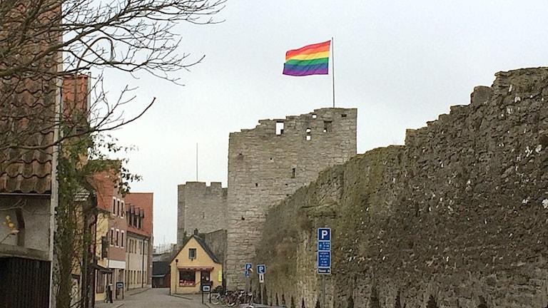 Regnbågsflagga över Österport i Visby. Foto: Henrik Wallenius/Sveriges Radio