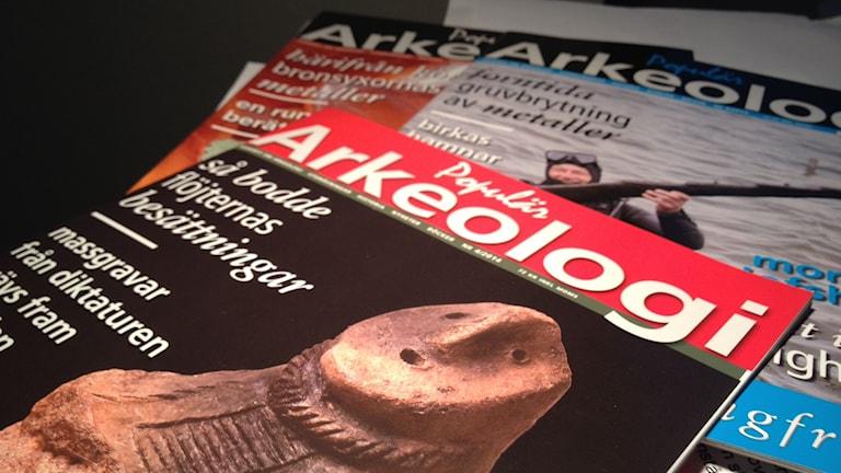 Tidskriften Populär Arkeologi som produceras på Gotland. Foto: Amanda Heijbel/Sveriges Radio