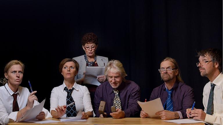 Monica Järlsäter, Anna Jankert, Gusti Larsson, Evert Jansson, Palten Jonsson och Janne Henriksson. Foto: Jesper Alvermark