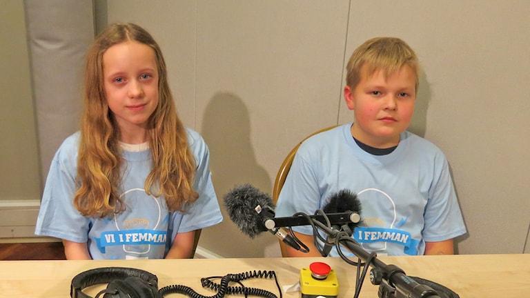 Sofie Ihreskog Florin och Bruno Snoder, Norrbackaskolan. Foto: Mika Koskelainen/Sveriges Radio