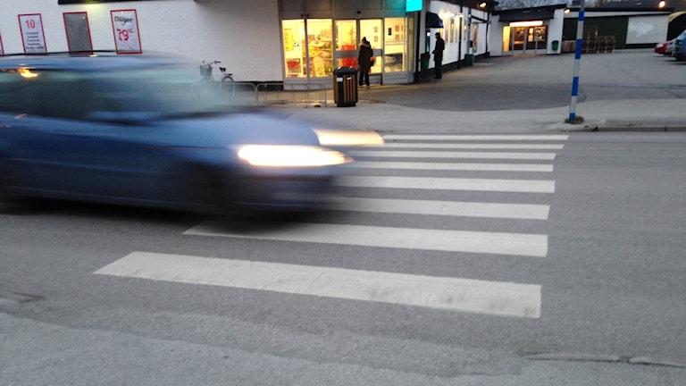 Bil på övergångsställe. Foto: Katarina Hedström/Sveriges Radio