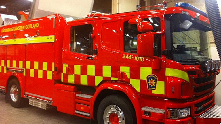 Räddningstjänstens släckbil. Foto: Samhällsbyggnadsförvaltningen Region Gotland