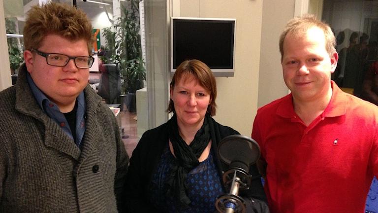 Mats Ekström, Karin Nyström och Niklas Viklund. Foto: Patrik Annerud/Sveriges Radio