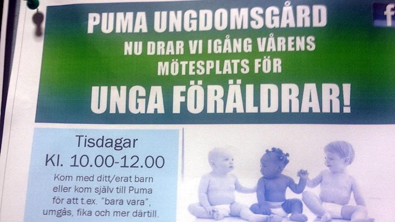 Affisch från fritidsgården Puma. Foto: Amanda Heijbel/Sveriges Radio