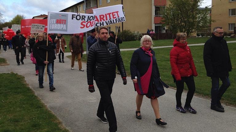 Socialdemokraternas 1:a majtåg i Visby 2014.Foto: Katarina Hedström /Sveriges Radio