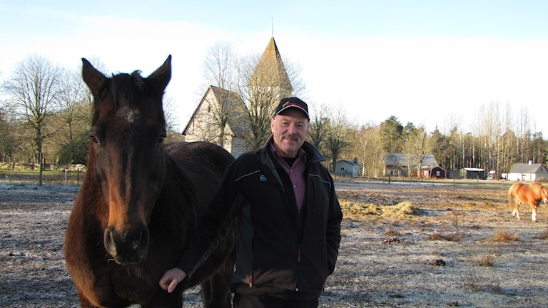 Roland Johansson med sina hästar. Foto: Gunnel Wallin/Sveriges Radio