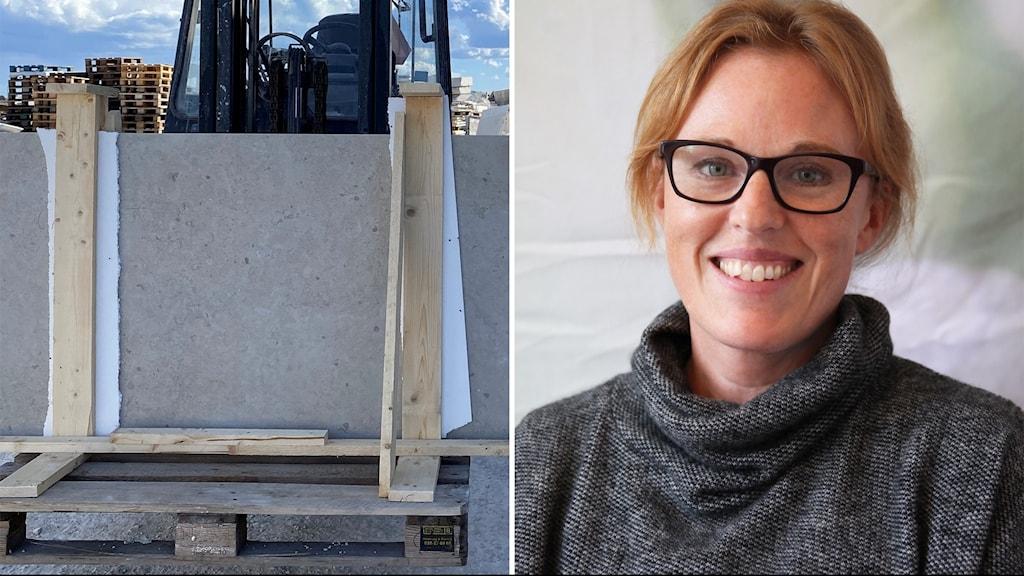 Till vänster: Ett stenblock på en truck. Till höger: En kvinna i glasögon och grå polotröja.