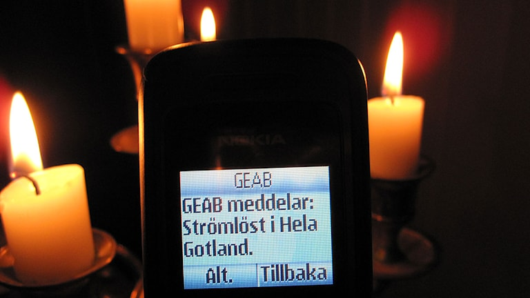 SMS om strömavbrott. Foto: Katarina Hedström/Sveriges Radio