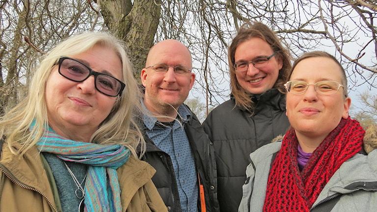 Anette Blomberg, Christer Boberg, Simon Jakobsson och Viktoria Klint. Foto: Ulrika Uusitalo Fernholm/Sveriges Radio