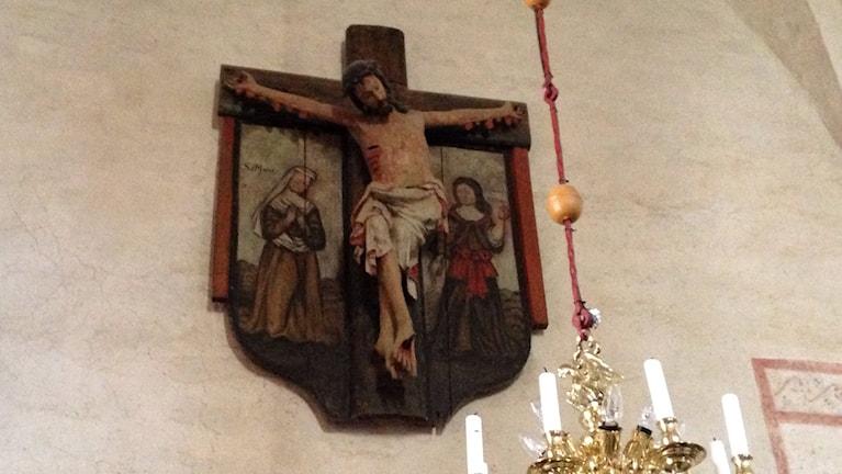 Mögeldrabbat krucifix i Stenkyrka kyrka. Foto:Katarina Hedström/Sveriges Radio