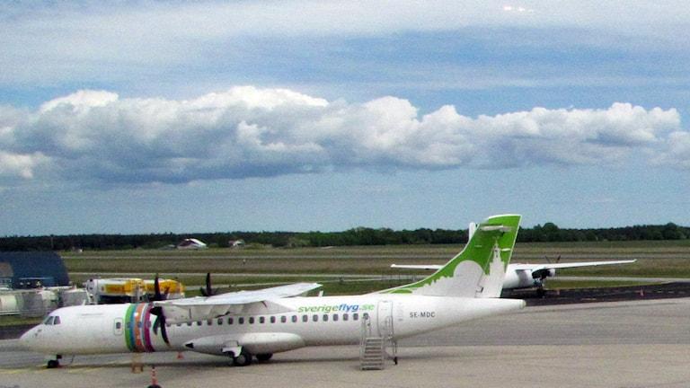 Plan på Visby flygplats. Foto: Lasse Ahnell/Sveriges Radio