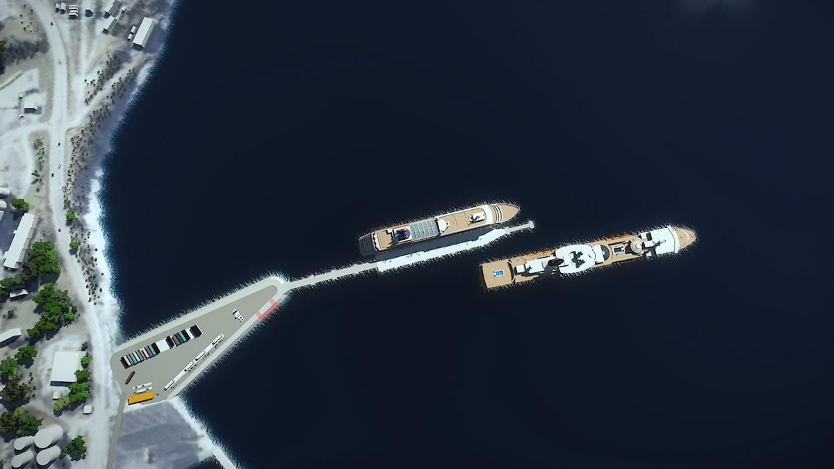 Bilder över den planerade kryssningskajen. Bildbyline: Region Gotland