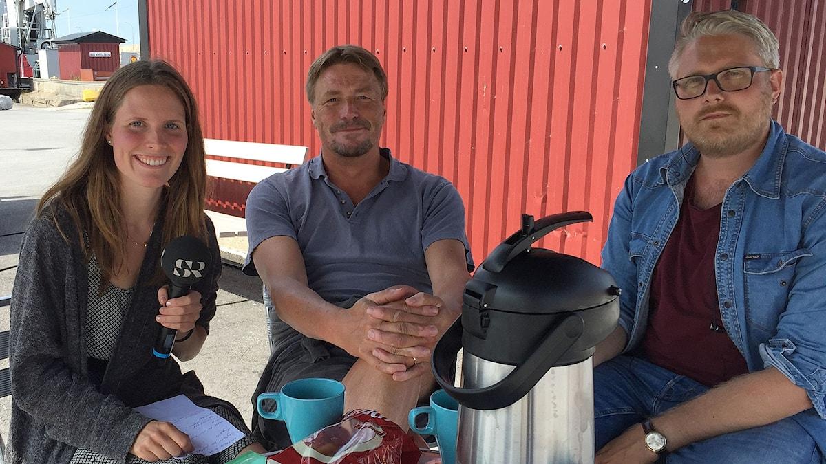 Thomas Bodström intervjuas av Amanda Heijbel och Anton Kalm. Foto: Demir Güler Lilja/Sveriges Radio.