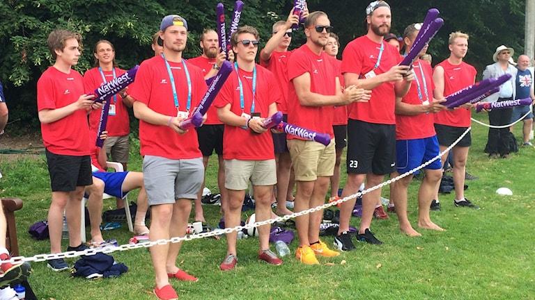 Gotlands herrar i fotbollen på Jersey 2015. Foto: Jenny Pettersson/Sveriges Radio