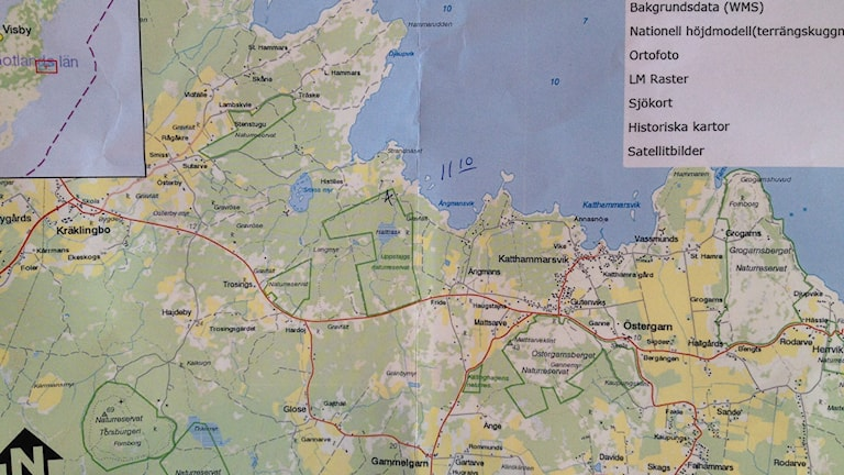 karta över östra Gotland. Foto: Ellen Hammarskiöld/Sveriges Radio