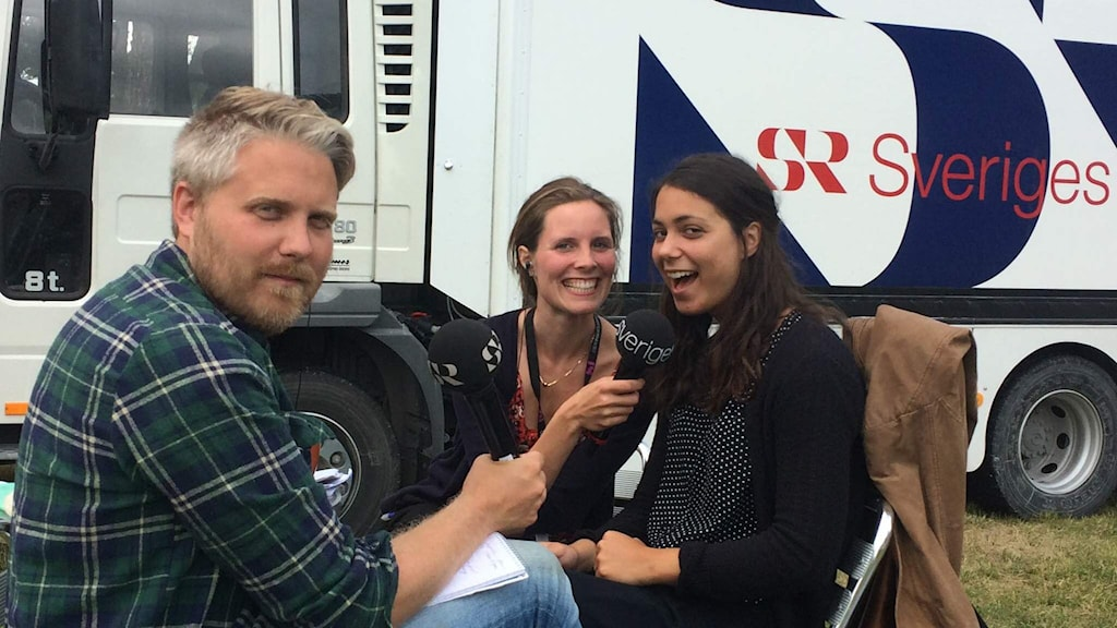 Anton Kalm, Amanda Heijbel och Clara Strauch. Foto: Demir Lilja/Sveriges Radio