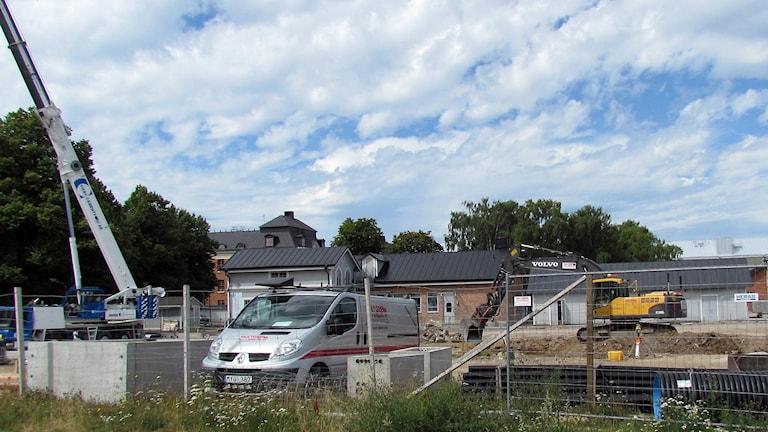 Byggarbetsplats i Visby. Foto: Jonas Neuman/Sveriges Radio