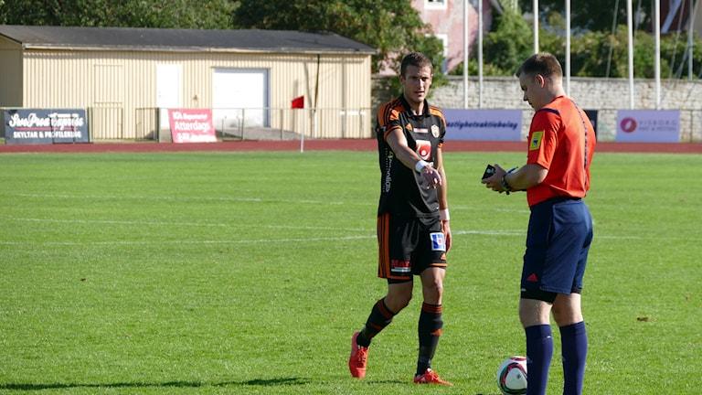 Aleksandr Avric i FC-Gute. Foto. Eva Didriksson/Sveriges Radio Gotland