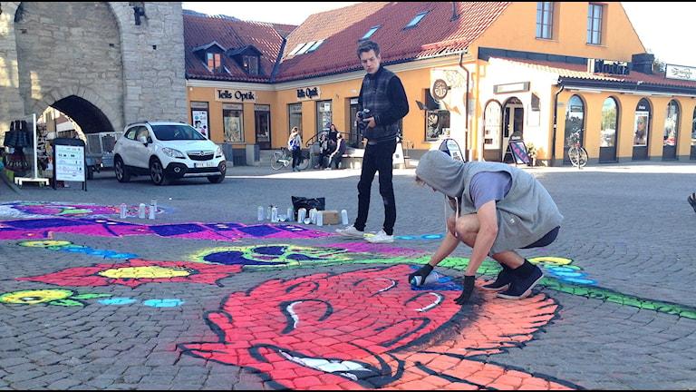 Graffitikonst utanför Österport i Visby. Foto: Jack Lantz/Sveriges Radio Gotland
