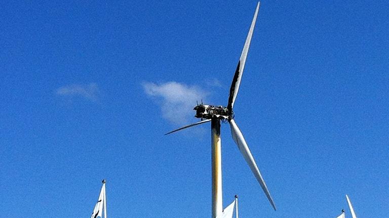 Eldhärjat vindkraftverk vid Gotland Ring. Foto: Clary Winberg/Sveriges Radio