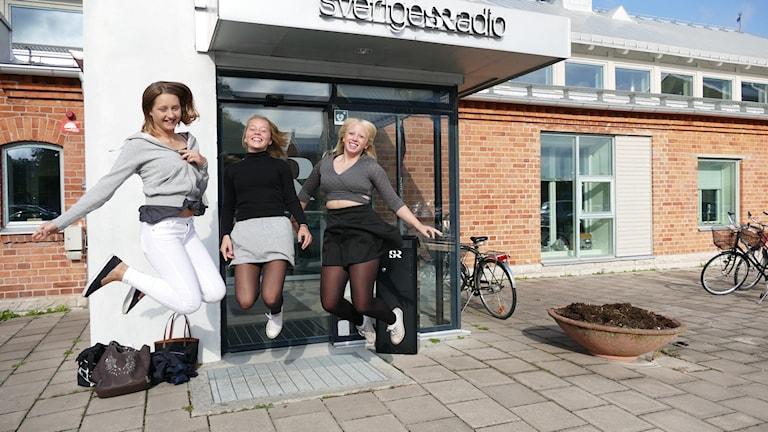 Tilde Danielsson, Wilma Janby och Ebba Sandberg. Foto: Eva Didriksson/Sveriges Radio