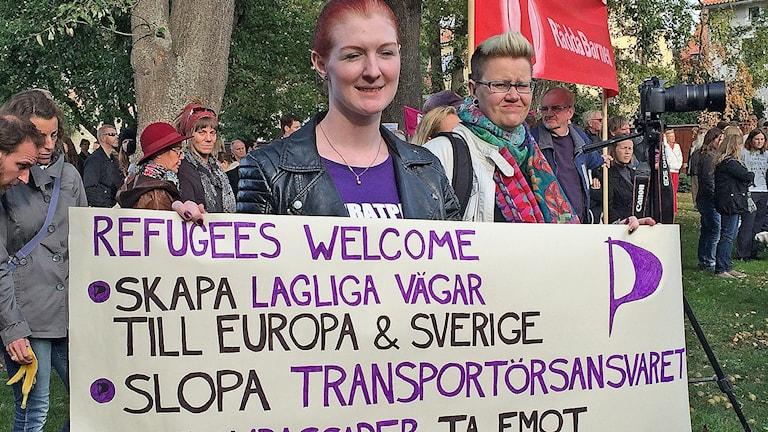 Refugees Welcome Gotland. Foto: Sveriges Radio