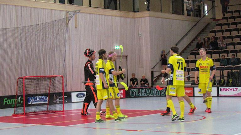 Visby IBK firar efter mål mot Lindås. Foto: Louise Ruthström/Sveriges Radio