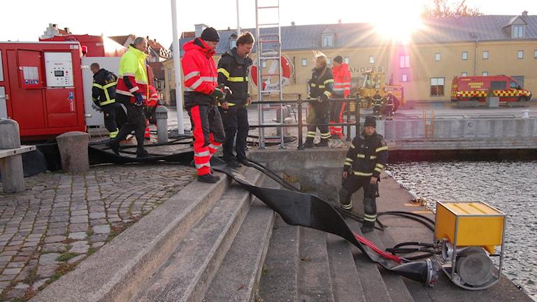 Brandövning i Visby hamn. Foto: Jack Lantz/Sveritges Radio