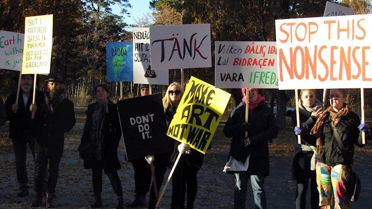 Demonstration för Gotlands Konstskola. Foto: Jonas Neuman/Sveriges Radio