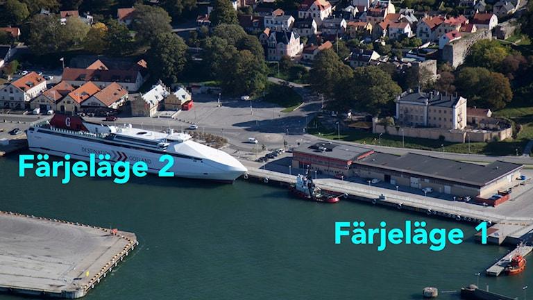 Färjelägen i Visby hamn. Foto: Gunnar Britse