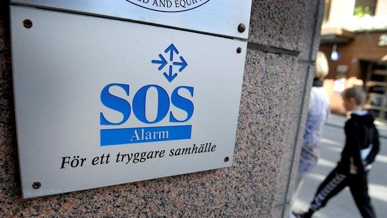 SOS Alarm-skylt. Foto: Janerik Henriksson/TT