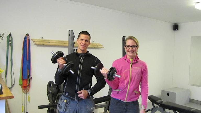 Christer och Mia Gottwald som bygger både hus och muskler. Foto: Lasse Eskelind/Sveriges Radio