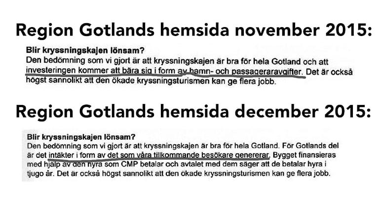 Region Gotland ändrade på sin hemsida om vilka intäkter kryssningstrafiken skulle ge, efter att P4 Gotland ställde frågor.