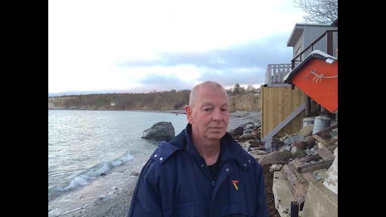 Lennart Swebilius, bodägare vid Buske fiskeläge. Foto: Karin Brindt/Sveriges Radio Gotland