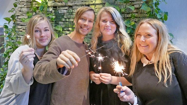 Helena Håkansson, Erik Larsson, Emmy Johansson och Maria Rundby. Foto: Mika Koskelainen/Sveriges Radio
