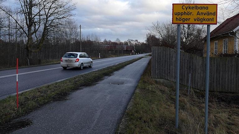 Cykelbanan slutar i Västergarn. Foto: Jonas Neuman/Sveriges Radio