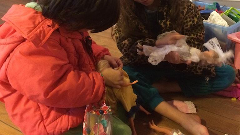 Flyktingbarn i lekrummet i Fårösund. Foto: Daniel Värjö/Sveriges Radio