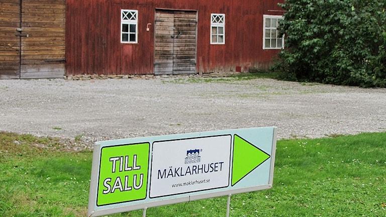 Skylt om hus till salu. Foto: Karin Persson/Sveriges Radio