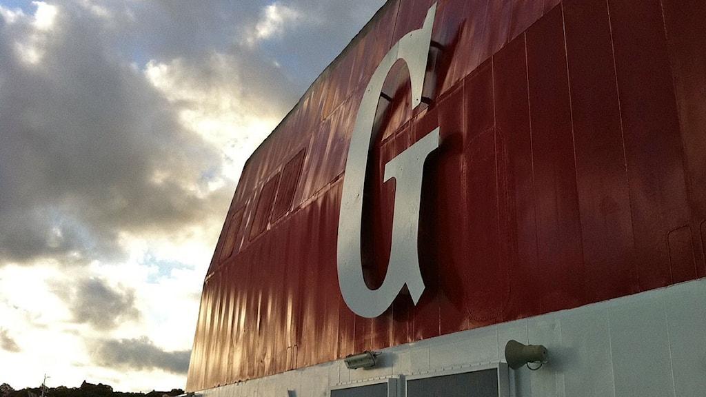 Skorsten på Gotlandsbåt. Foto: Thomas Zielinski / SR Gotland