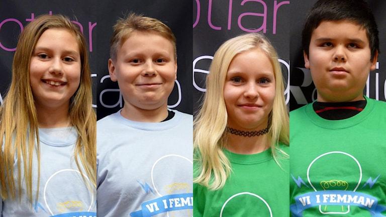 Lyckåkerskolan: Filippa Dahlberg och Tristan Broe-Hakala. Solklintsskolan: Nora Svensson och Jesper Srimak Fransson. Foto: Jonas Neuman/Sveriges Radio