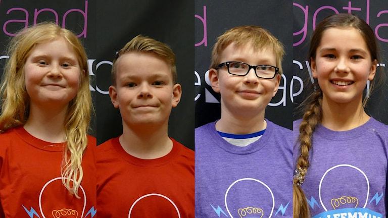 Alléskolan 5B: Ida Eklund och Melvin Blomberg. Montessoriskolan: Morris Westin och Linn Leissner. Foto: Jonas Neuman/SVeriges Radio